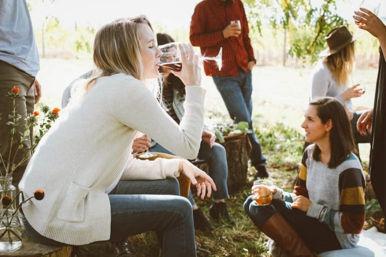 groupe d'amis dégustant du vin en campagne